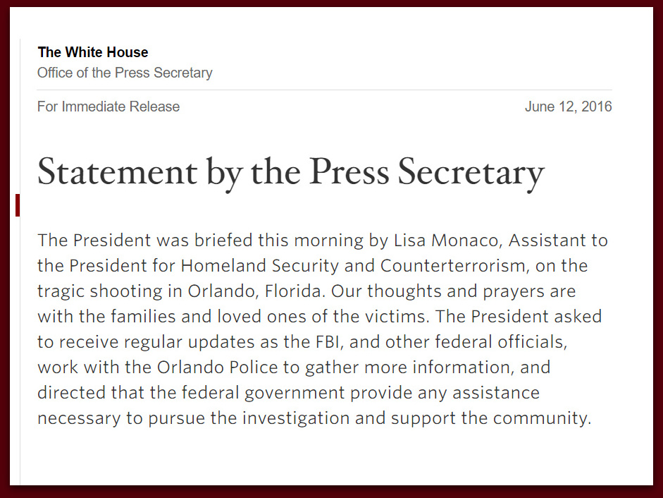 White House Fails To State Islamic Connection In Its Statement On Orlando Terrorist Attack