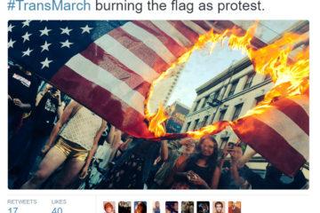 LGBT Activists Burn American Flag At Trans Pride Parade
