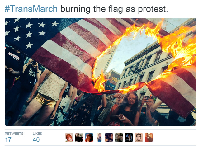 LGBT Activists Burn American Flag At Trans Pride Parade