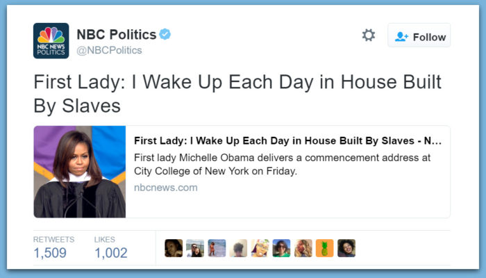 "Michelle Whines: ""I Wake Up Each Day In House Built By Slaves"""