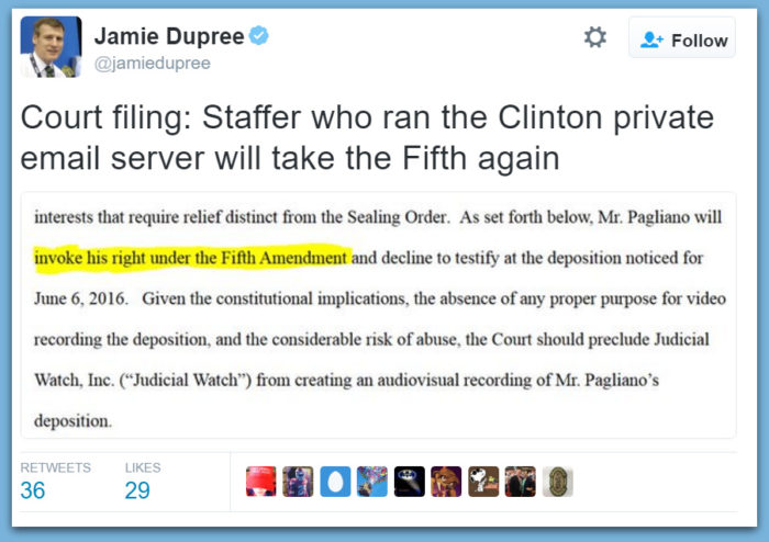Hillary IT Staffer To Plead The Fifth