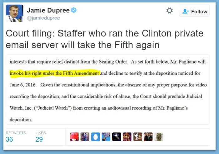 Hillary IT Staffer To Plead The Fifth