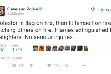 Protester Tries To Set Flag On Fire, Lights Himself And Others On Fire