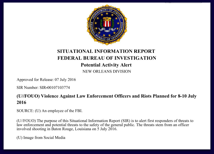 FBI Issued Alert In Louisiana, Warns Of Violence Against Law Enforcement
