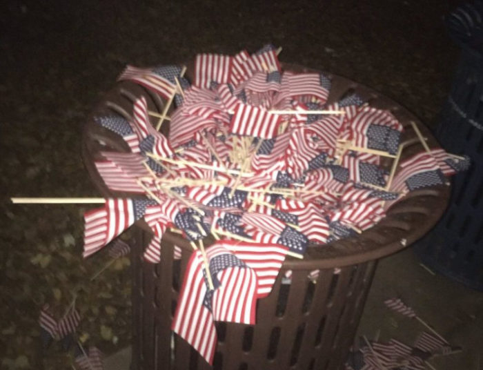 Moonbats Throw 2,977 American Flags Memorializing 9/11 Deaths In The Trash