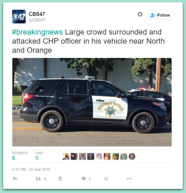 Large Crowd Attacks California Highway Patrol Officer