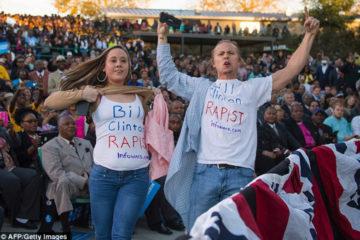 Bill Clinton 'Rape' Protesters Disrupt Obama At Hillary Campaign Event