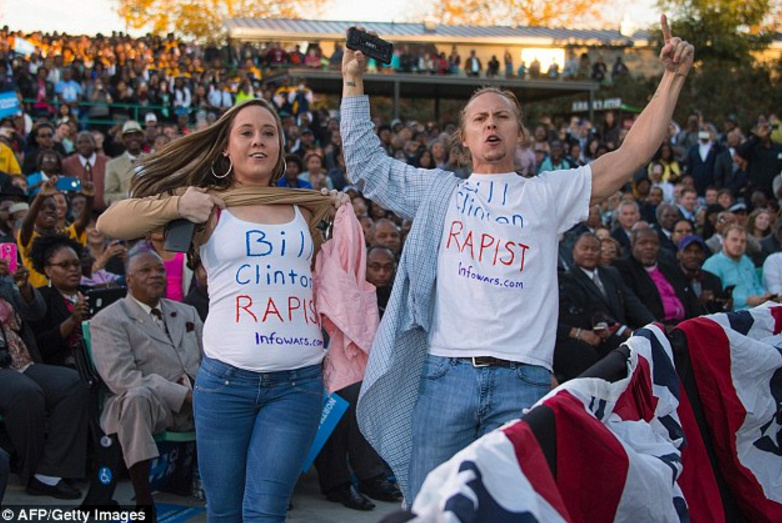 Bill Clinton 'Rape' Protesters Disrupt Obama At Hillary Campaign Event