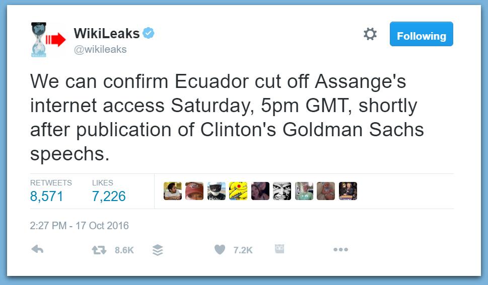 BREAKING: Wikileaks Confirms Ecuadorian Embassy Cut Off Julian Assange's Internet Access