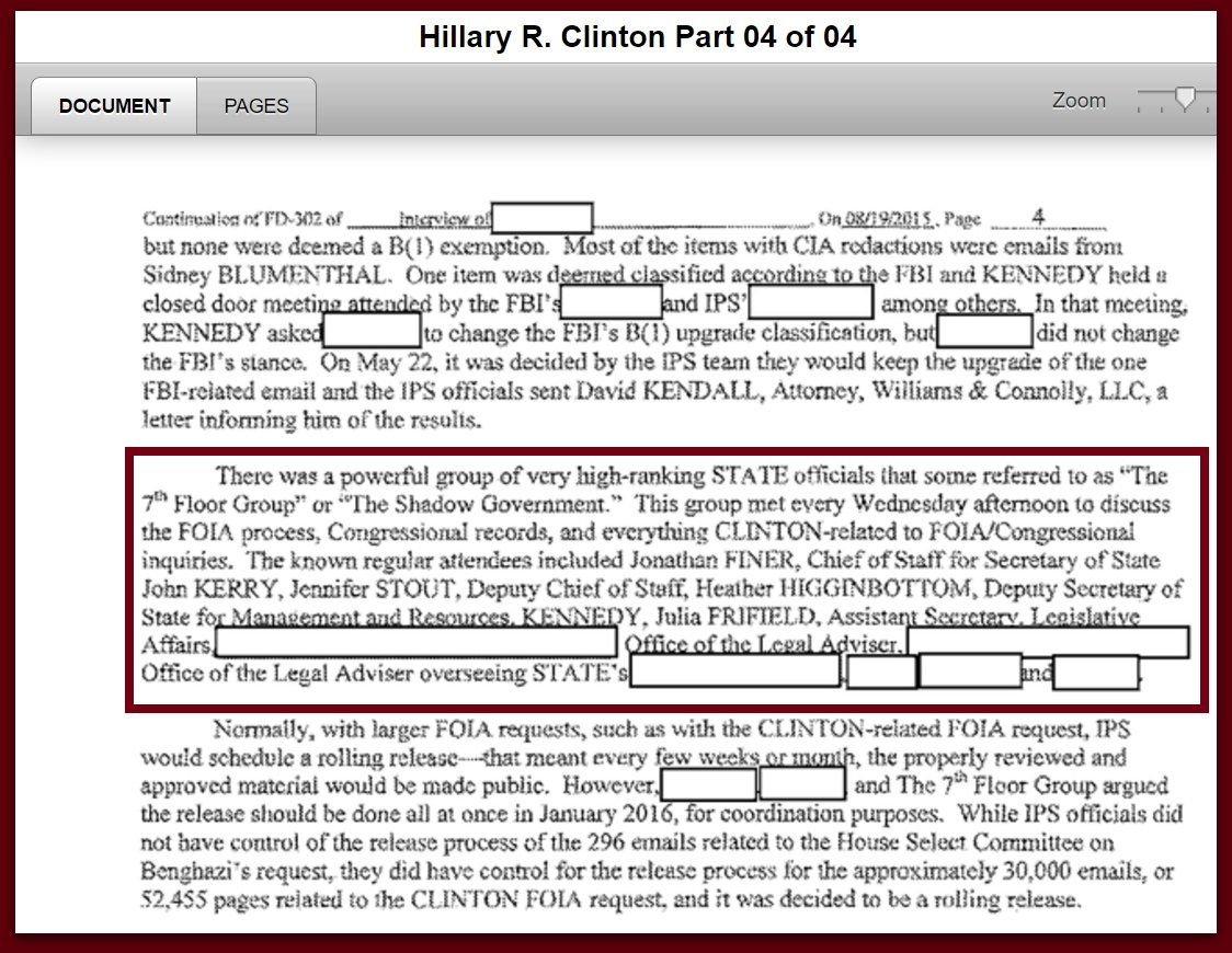 "FBI Files Reveal ""Shadow Government"" At State Dept Oversaw Everything Hillary-Related"