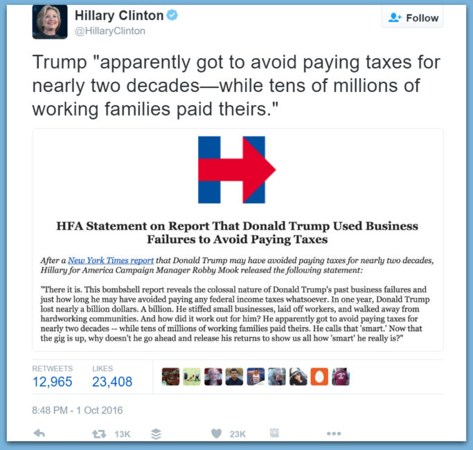 Hypocrite: Absolute Proof Hillary Used Same Exact Tax Avoidance As Trump