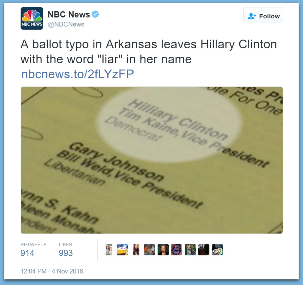 Ballot Typo In Arkansas Hits Hillary In The Mouth!