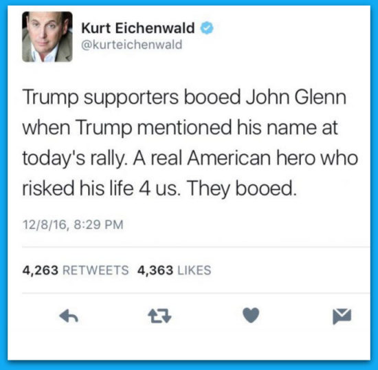 Leftist Reporter Tweets Fake News That Trump Supporters Booed John Glenn