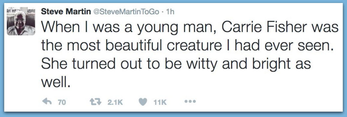 "Feminists Freakout After Steve Martin Marks Death Of ""Beautiful"" Carrie Fisher"