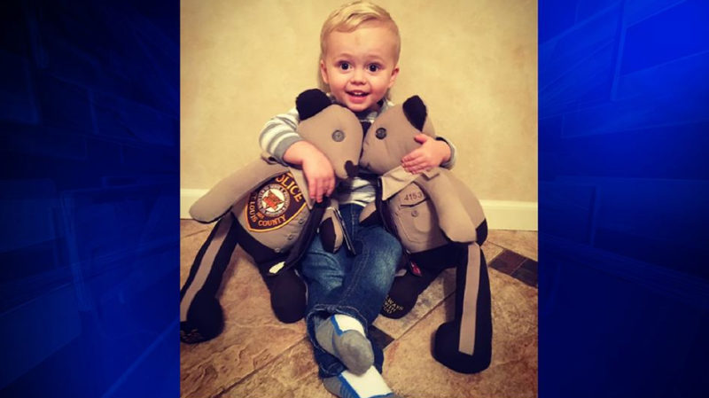 Slain Officer's Son Gets Teddy Bears Made Out Of Dad's Uniform