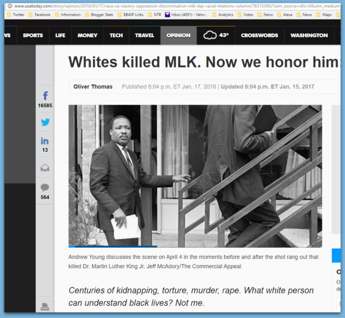 "USA Today: ""Whites Killed MLK... Now We Honor Him"""