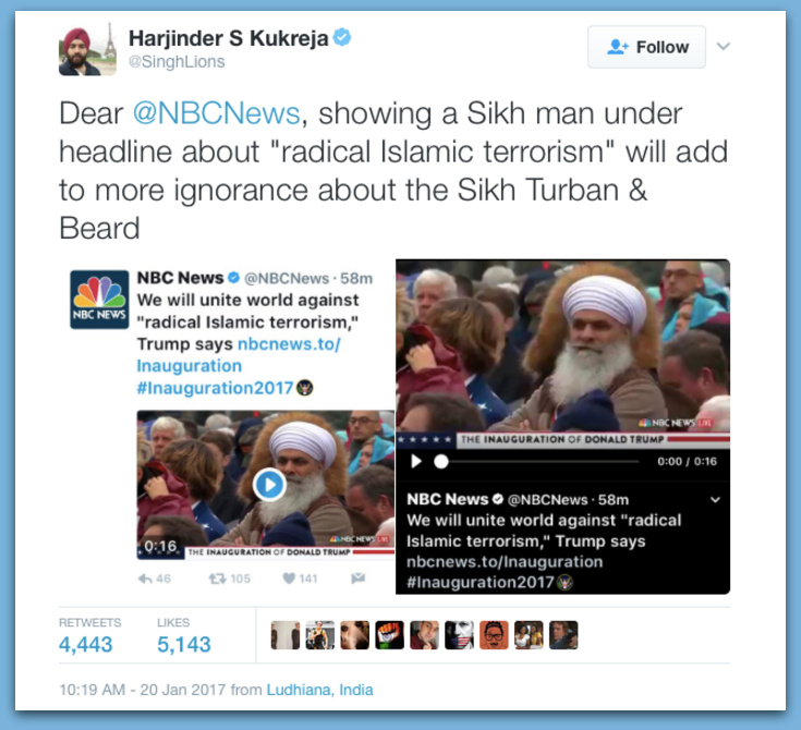 NBC Uses Pic Of Sikh Man To Represent 'Radical Islam' In Trump's Inauguration Speech