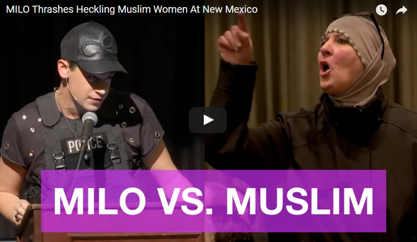 Milo Schools Heckling Muslim Woman… Crowd Goes Wild & Chants Usa! Usa! Usa!