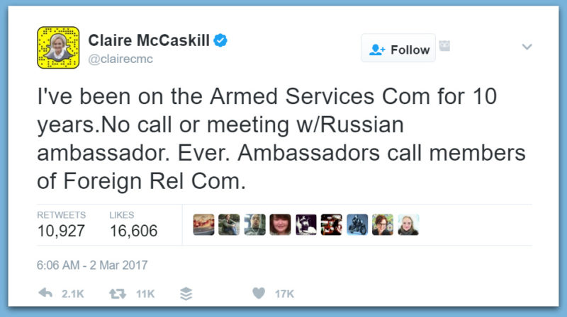Dem Sen. Claire McCaskill Caught LYING About Past Meetings With Russian Ambassador