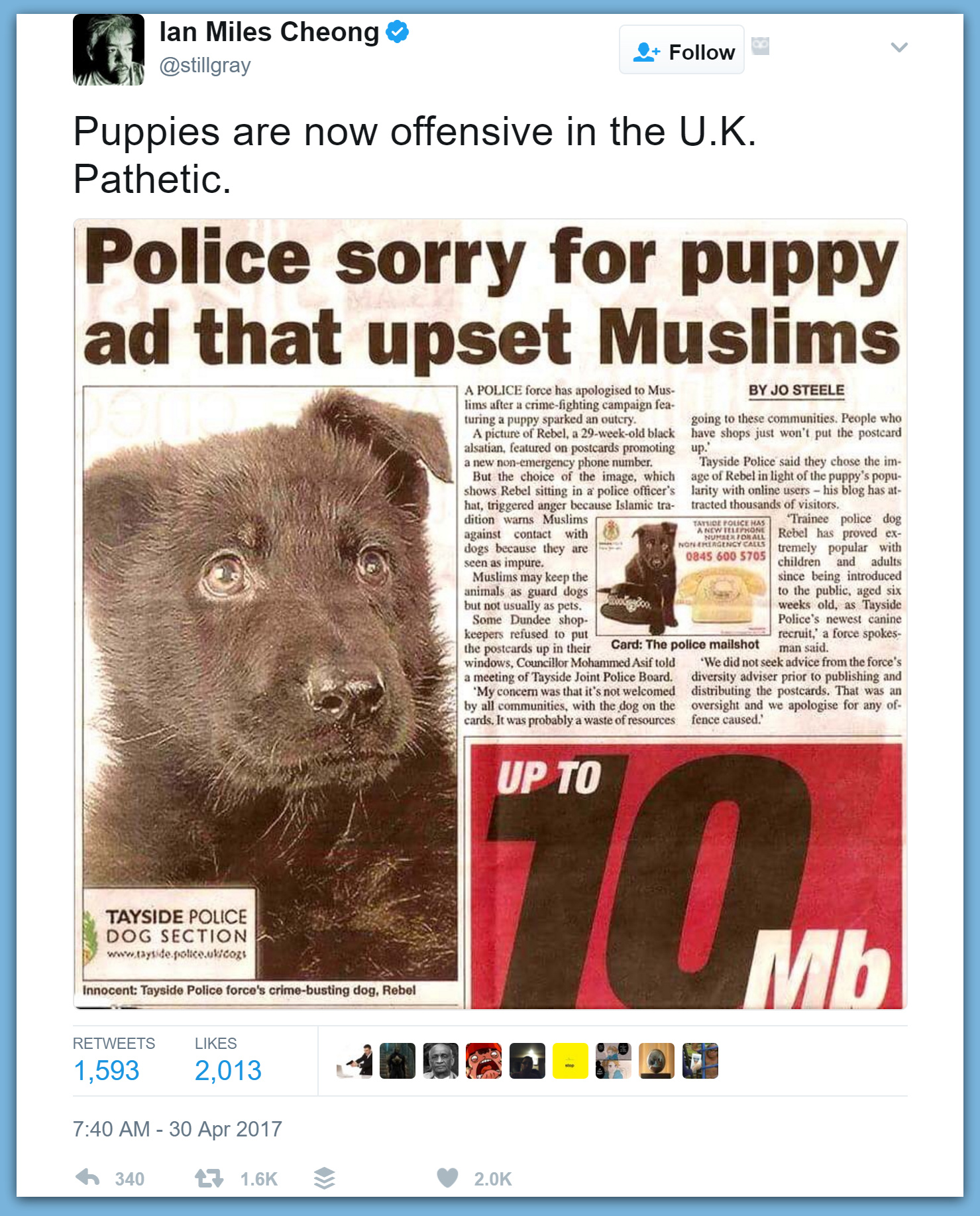 Police Apologize To Muslims For Using Puppy In Ad