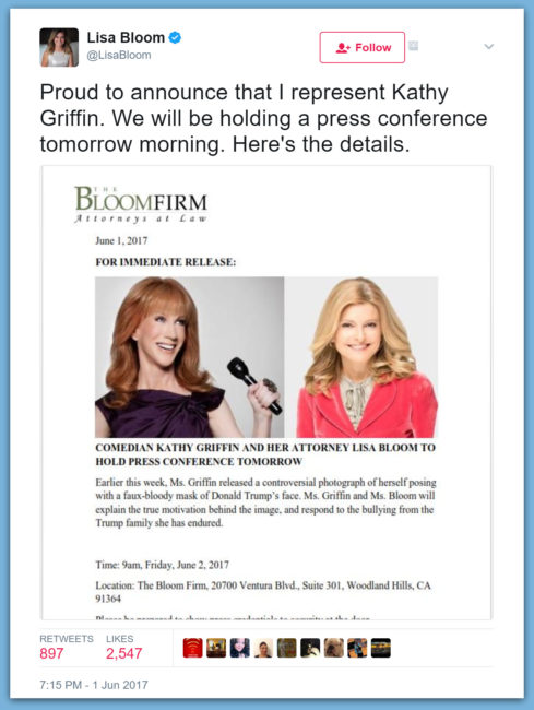 "Kathy Griffin To Hold Press Conference With Attorney To Whine About ""Bullying"" From Trumps"