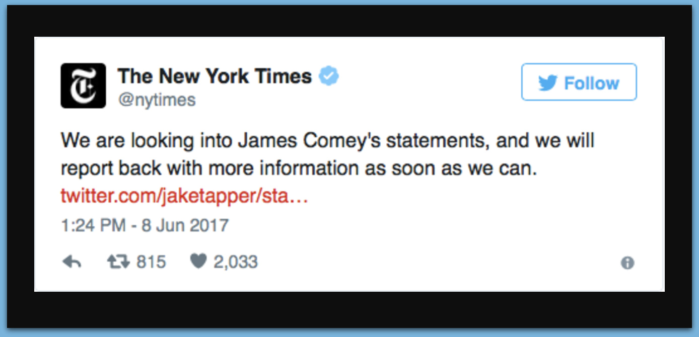 New York Times Scrambles To Fix 'Almost Entirely Wrong' Russia Scoop After Comey's Testimony