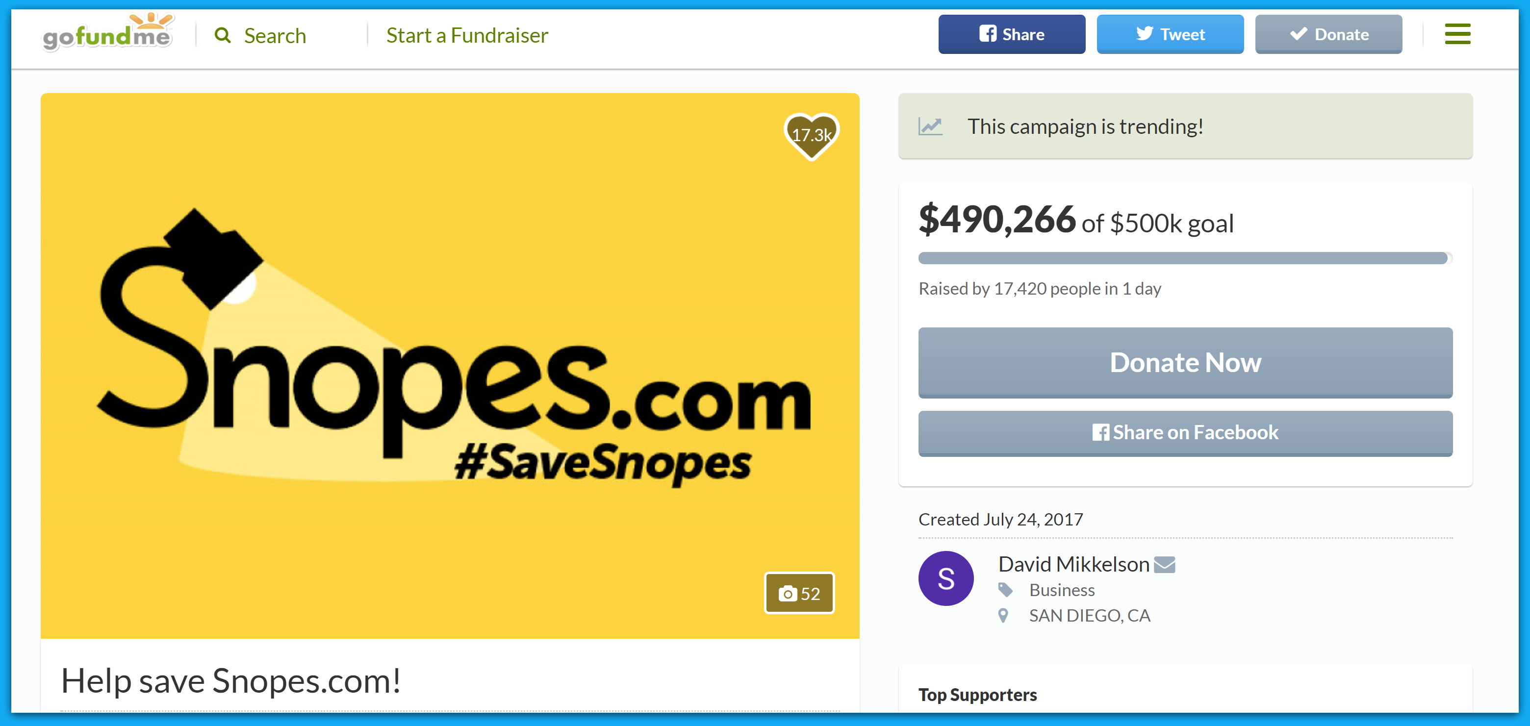 "SNOPES IMPLODES! Liberal ""Fact-Checker"" Begs Via GoFundMe To Keep Going"