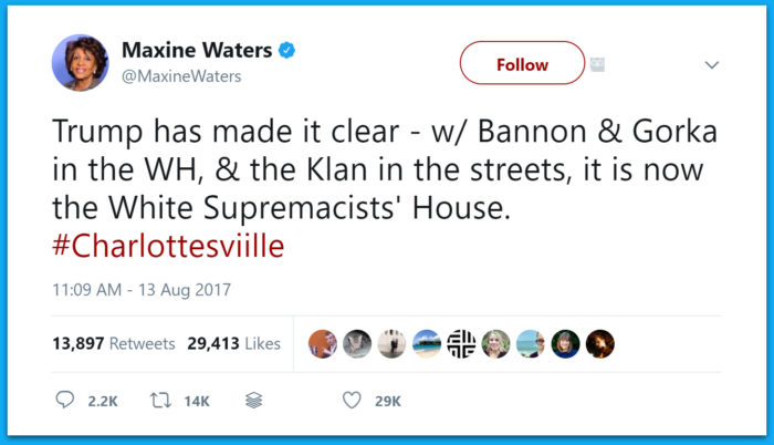 Maxine Waters: The White House Is Now 'The White Supremacists' House'
