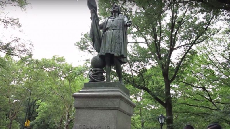 Christopher Columbus Statue Vandalized With Creepy Warning!