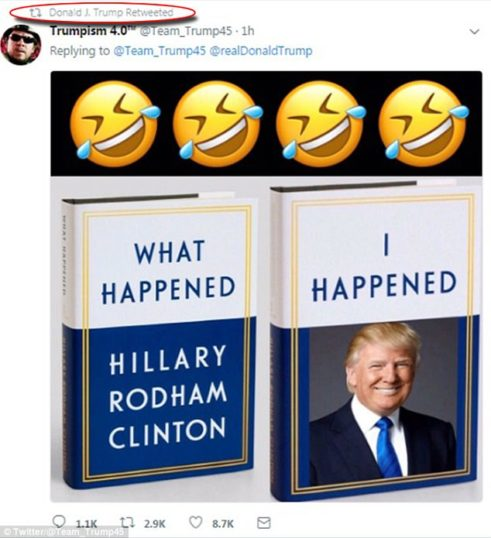 Trump Retweets Meme Mocking Hillary's New Book