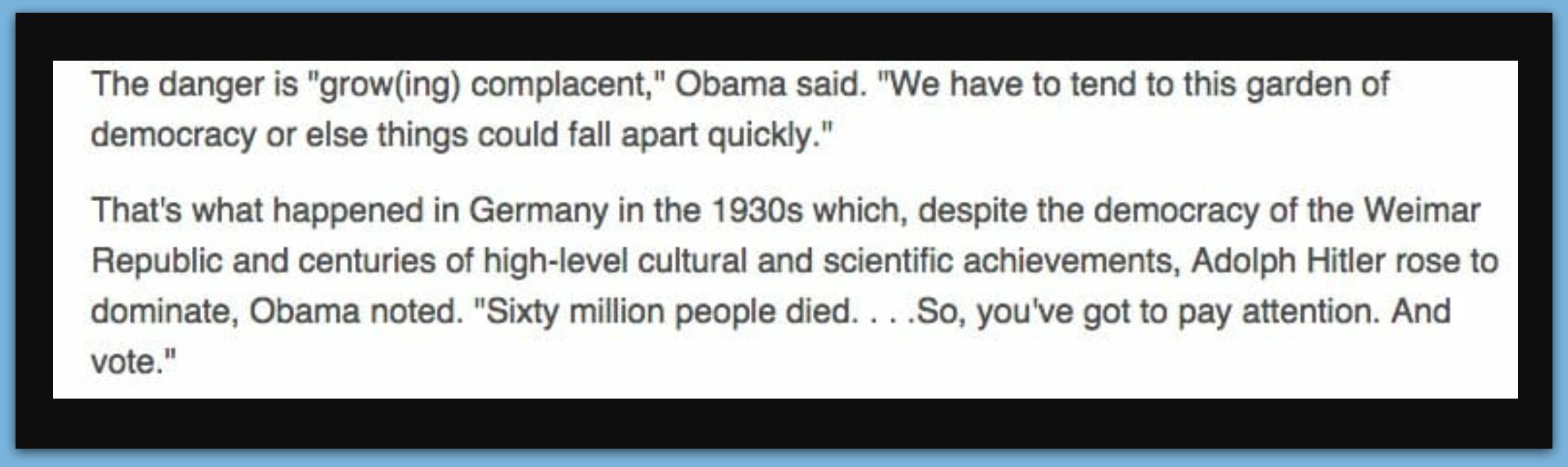 Chicago: Obama Compares President Trump To Hitler