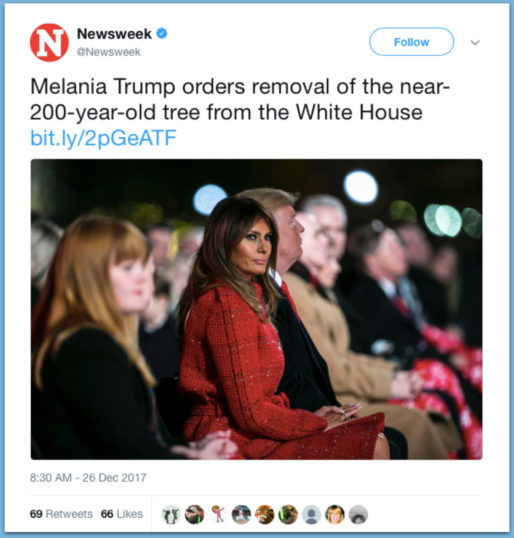 Misleading Media Headlines: Melania Trump Wants To Rip Down 200 Year Old Historical Tree