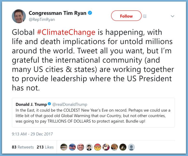 Dem Congressman Tim Ryan Outraged Trump Tweeting While People Die From Global Warming
