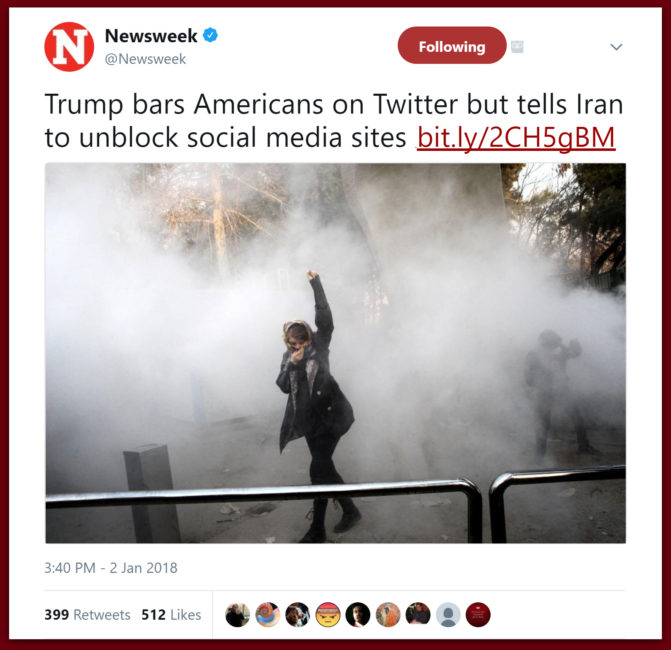 Newsweek: Trump Bars Americans On Twitter But Tells Iran To Unblock Social Media Sites