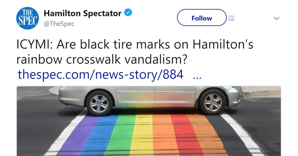 Official Concerned That Skid Marks On LGBT Flag Crosswalk May Be 'Hate'
