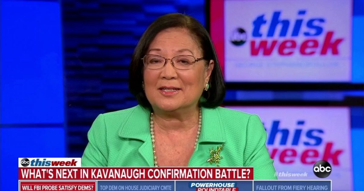 "Hirono Refuses To Deny Dems Leaked Ford Letter... Says Dem Actions Shouldn't Be ""Focus"" Of Investigation"